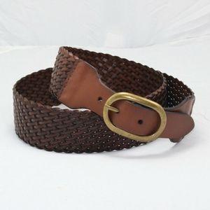 Ann Taylor Loft Weaved Belt Brown Leather Brass